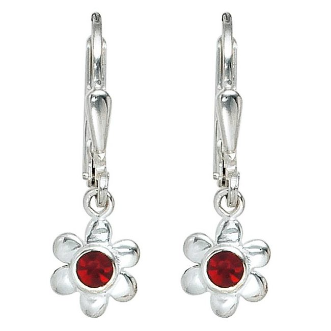 Kids earrings Silver Flower (925) with red glass stones