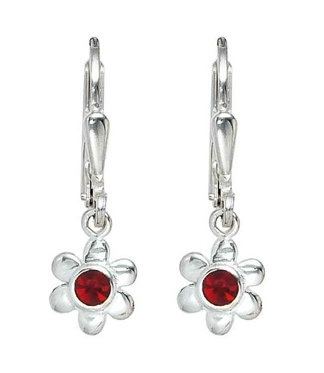 Aurora Patina Kids earrings Silver Flower (925) with red glass stones