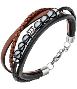 JOBO Men's bracelet leather and hematite
