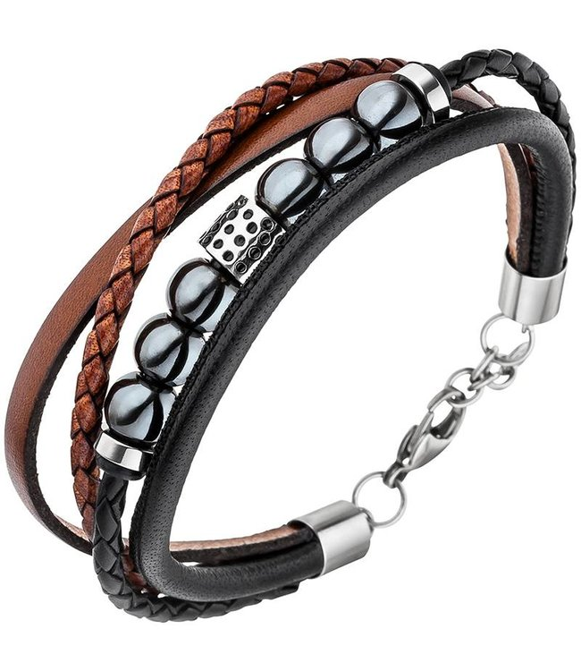 Aurora Patina Men's bracelet in leather, hematite and stainless steel