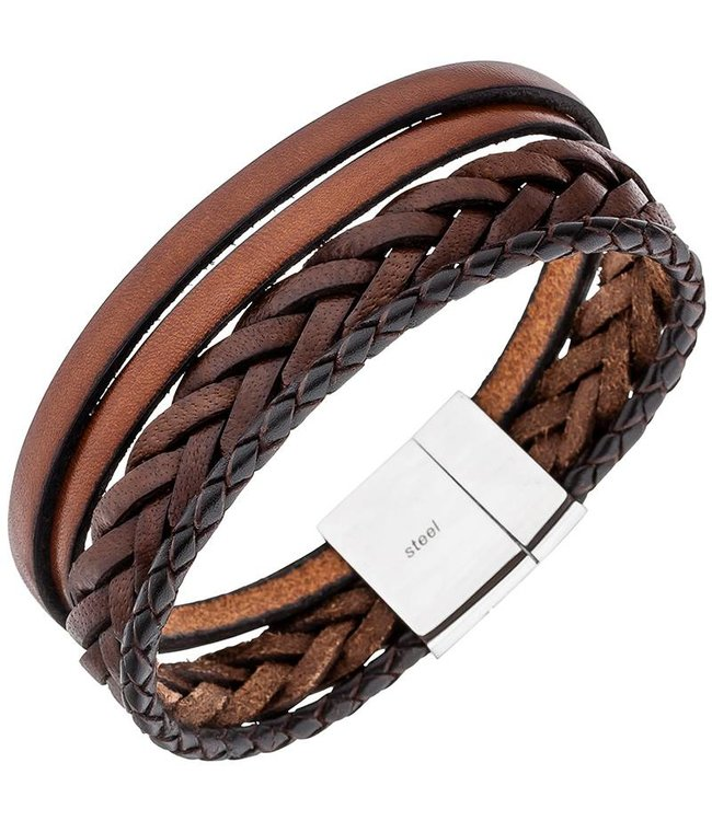 JOBO Men's bracelet in brown leather with stainless steel clasp