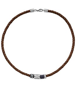 JOBO Men's necklace braided brown leather