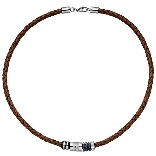 Men's necklace  in braided brown leather with stainless steel ornament