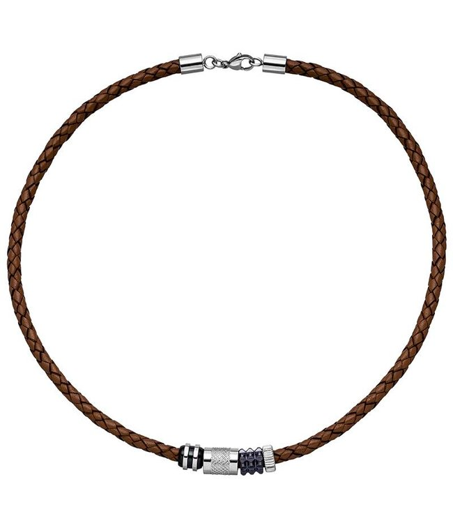 JOBO Men's necklace  in braided brown leather with stainless steel ornament