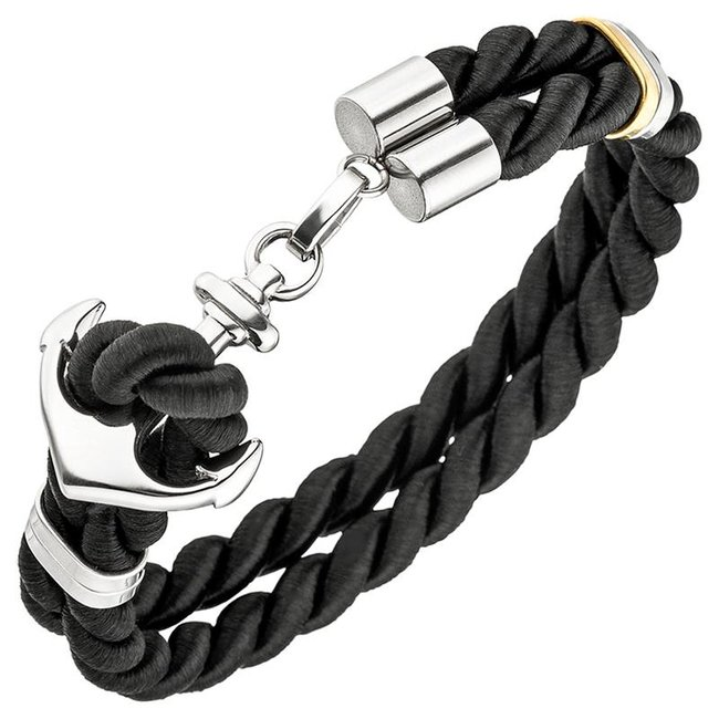 Men's bracelet with stainless steel anchor clasp and black nylon cord