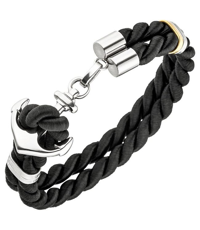 JOBO Men's bracelet with stainless steel anchor clasp and black nylon cord