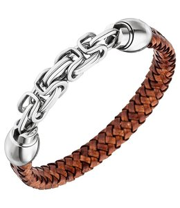 JOBO Men's bracelet braided brown leather