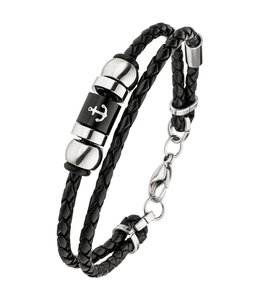Aurora Patina Men's bracelet Anchor braided black leather