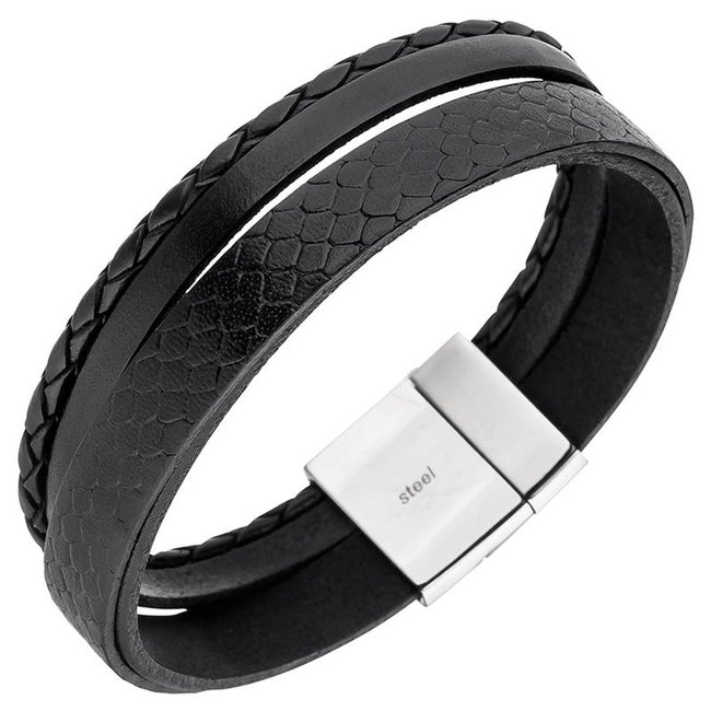 Men's bracelet in black leather with stainless steel clasp