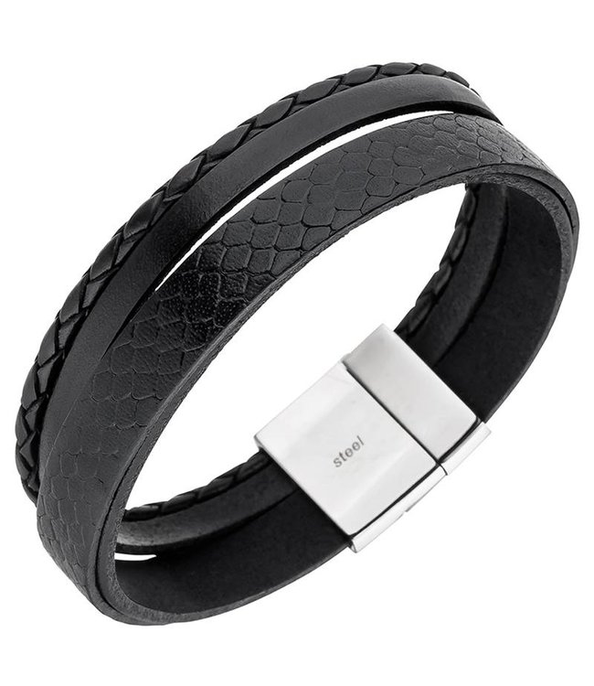 Aurora Patina Men's bracelet in black leather with stainless steel clasp