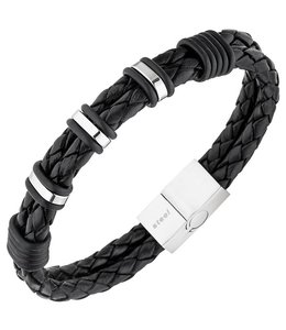 JOBO Men's bracelet braided black leather