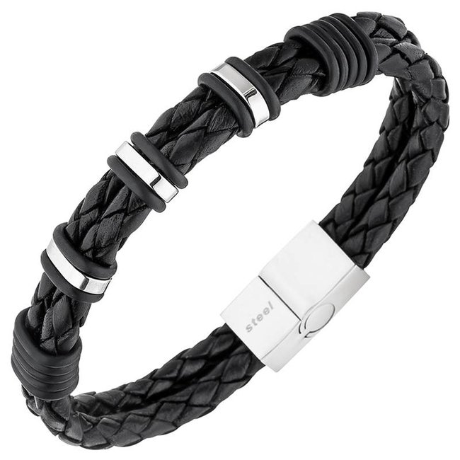 Men's bracelet in braided black leather with stainless steel clasp