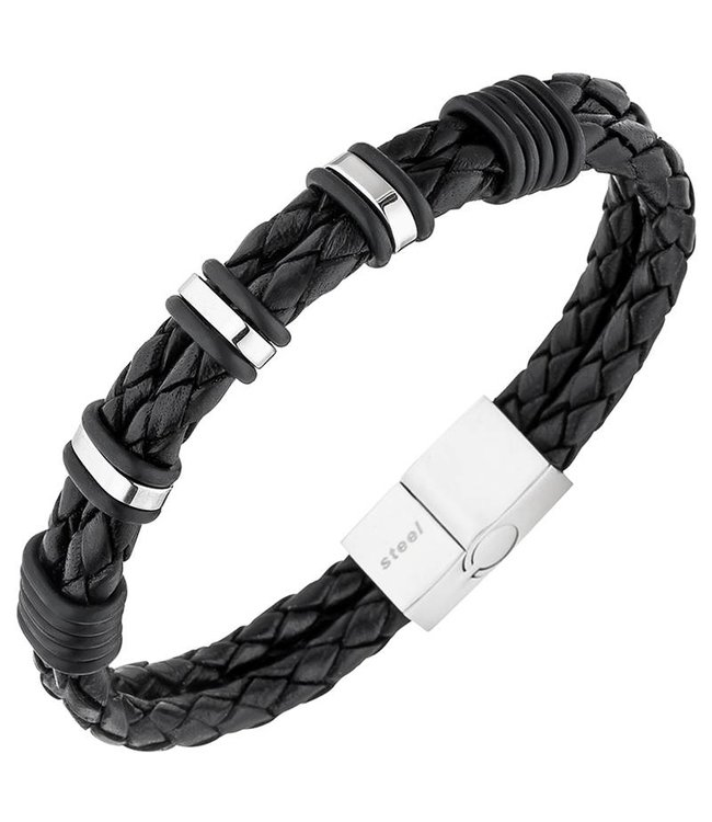 JOBO Men's bracelet in braided black leather with stainless steel clasp