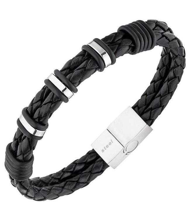 JOBO Herrenarmband in geflochtenes schwarzes Leder mit Edelstahlverschluss
