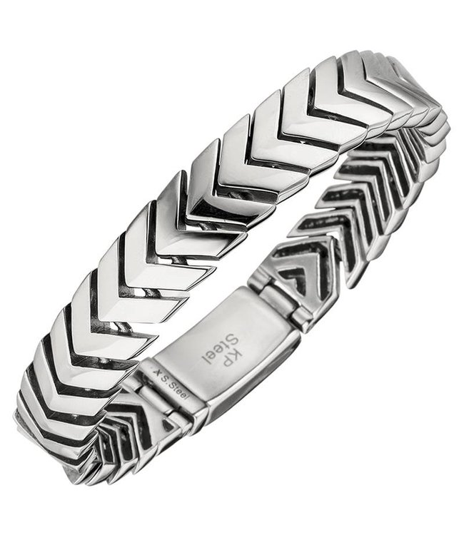 JOBO Men's bracelet stainless steel with folding clasp 21 cm
