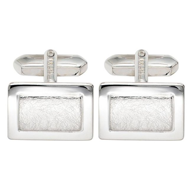 Cufflinks 925 Sterling Silver partly matted finish