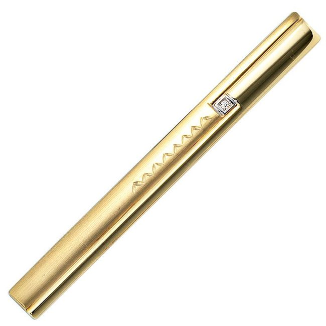 Golden tie pin (333) partly matted with zirconia