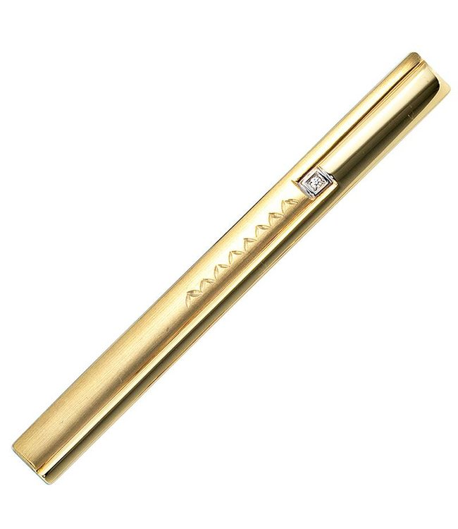 JOBO Golden tie pin (333) partly matted with zirconia