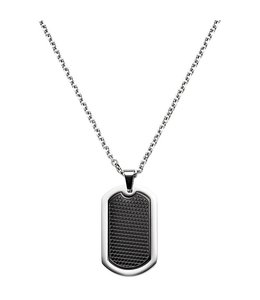 Aurora Patina Dogtag Necklace stainless steel black