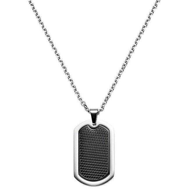 Dogtag halsketting met hanger in roestvrij staal zwart gecoat 55 cm