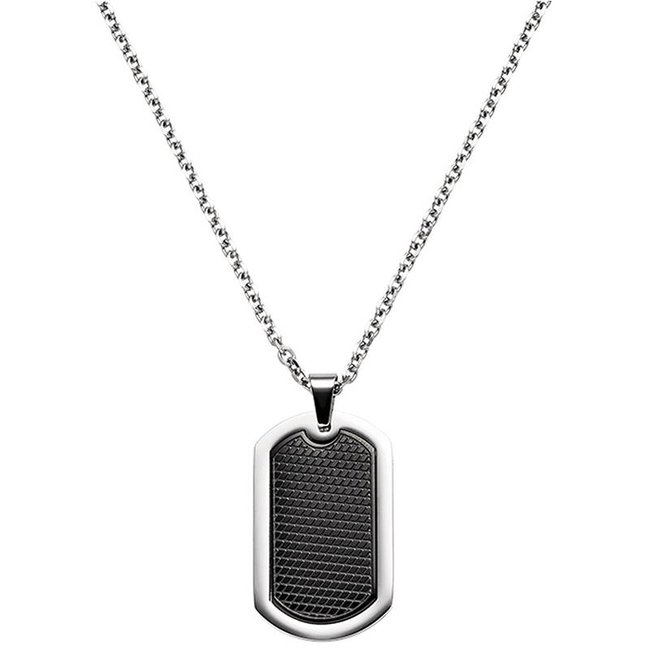 Dogtag Necklace with pendant stainless steel black coated 55 cm