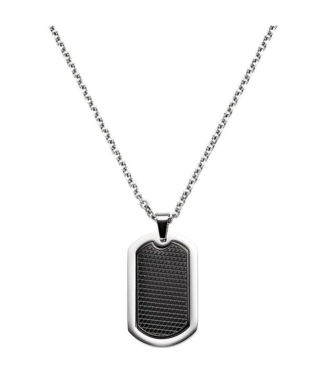 Aurora Patina Dogtag Necklace with pendant stainless steel black coated 55 cm