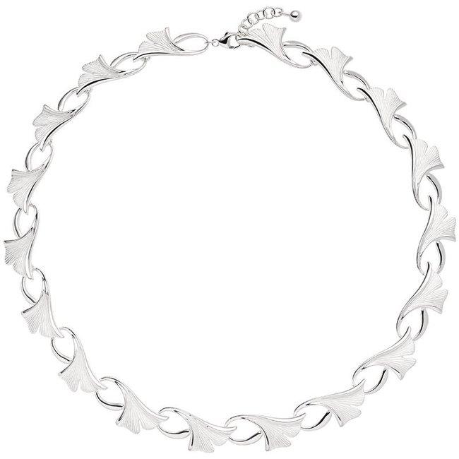 Zilveren halsketting Ginko gematteerd 925 sterling zilver 47 cm