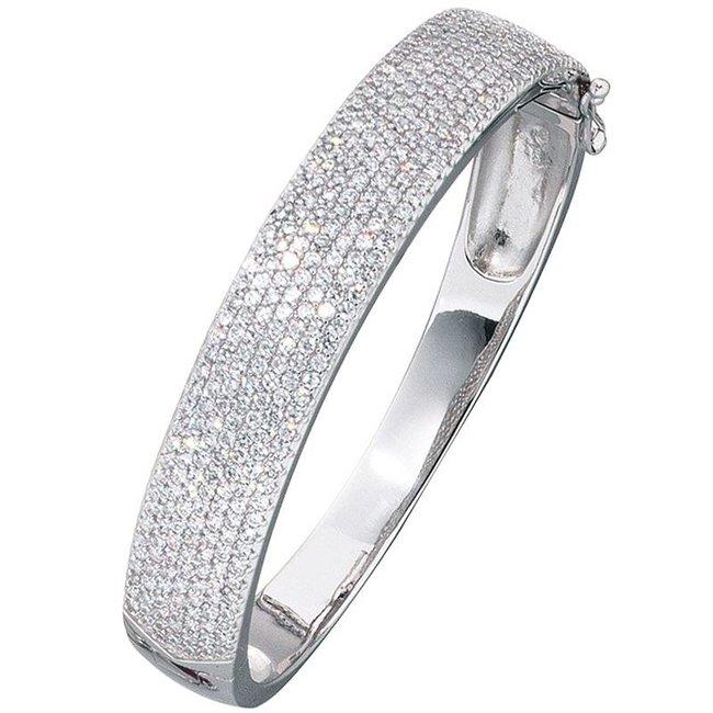 Zilveren armband belegd met zirkonia 12 mm breed