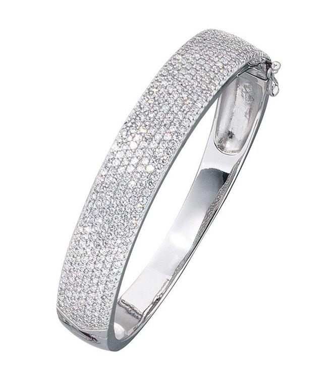 JOBO Silver bracelet lined with zirconia 12 mm wide
