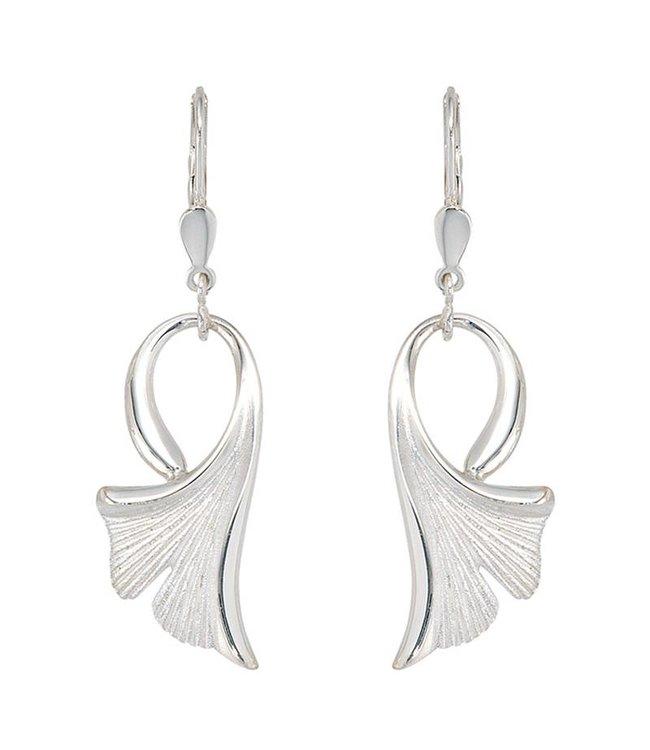 JOBO Silver earrings Ginko matted 925 sterling silver