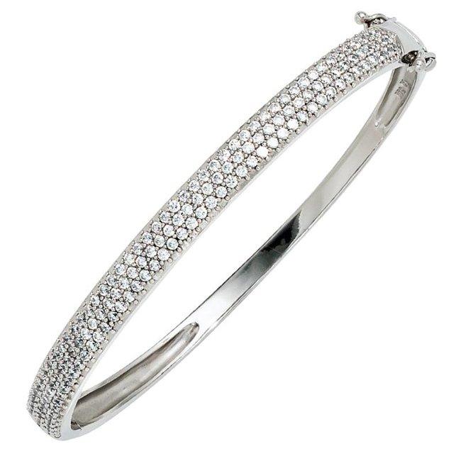 Aurora Patina Zilveren armband met zirkonia 6 mm breed