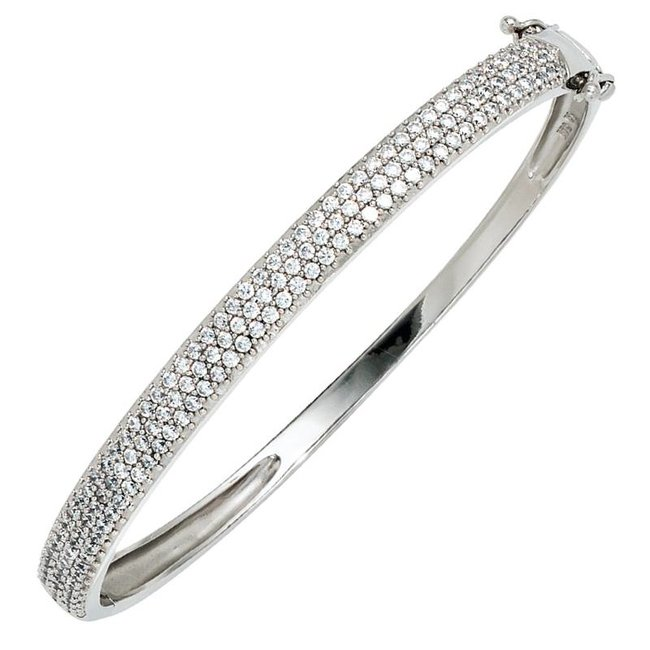 Silver bracelet lined with zirconia 6 mm wide