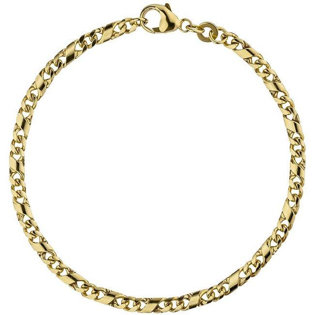 Aurora Patina Gouden schakel armband 18,5 cm