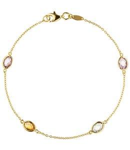 JOBO Gouden armband edelstenen 19 cm