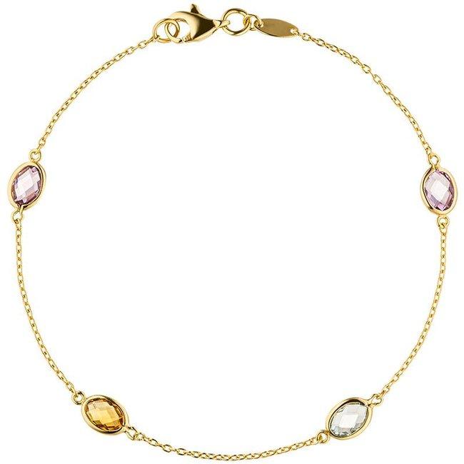 Aurora Patina Gouden armband edelstenen 19 cm