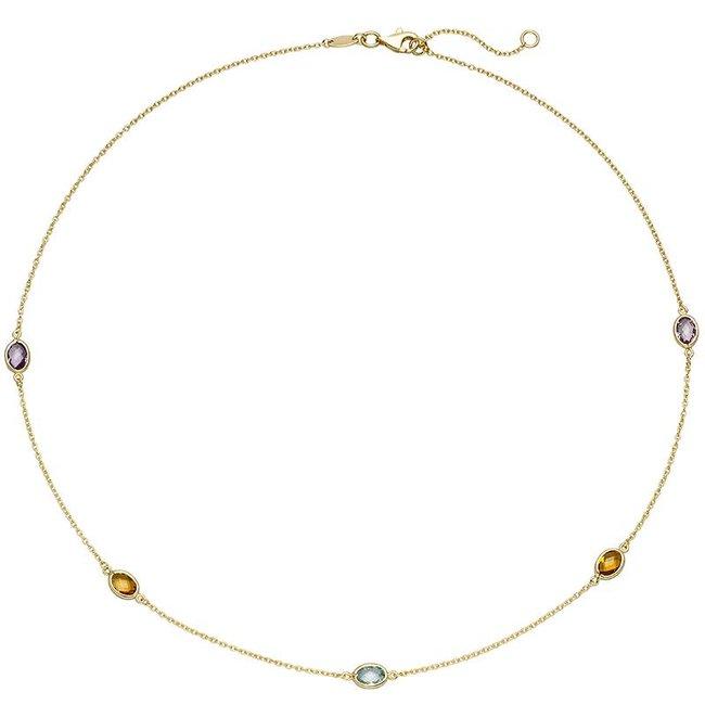 Aurora Patina Gouden halsketting edelstenen 45 cm