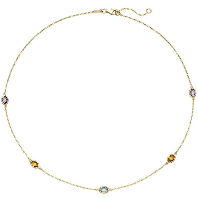 Gold necklace (585) with citrine, amethyst and blue topaz 45 cm
