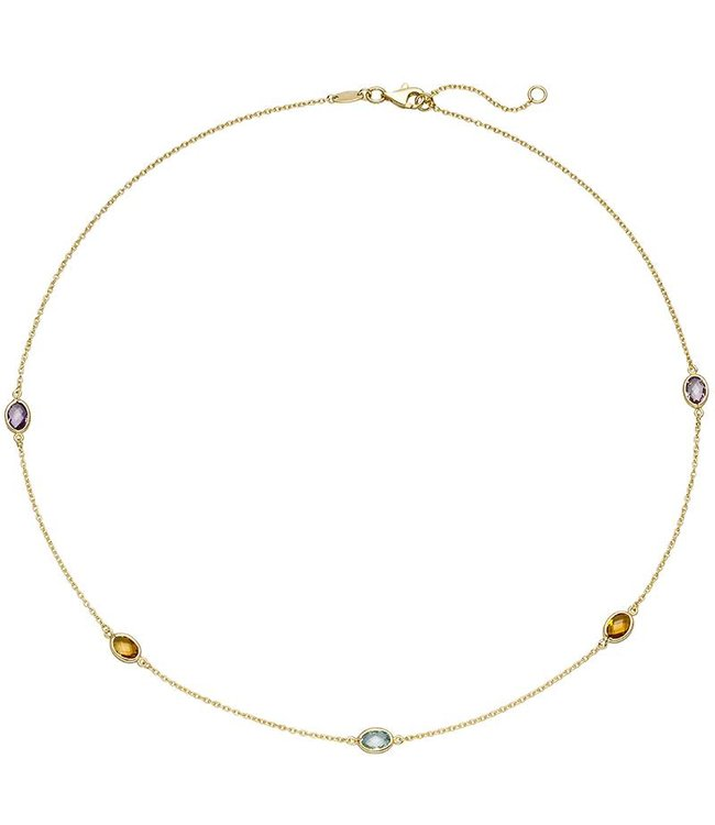 JOBO Gold necklace (585) with citrine, amethyst and blue topaz 45 cm