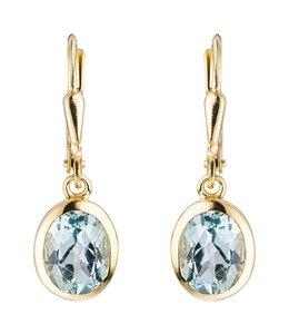 Aurora Patina Gouden oorbellen blauwtopaas