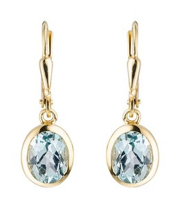 JOBO Golden earrings blue topaz