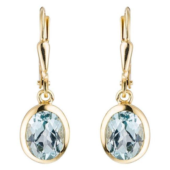 Gouden oorbellen (333) ovale blauwtopaas