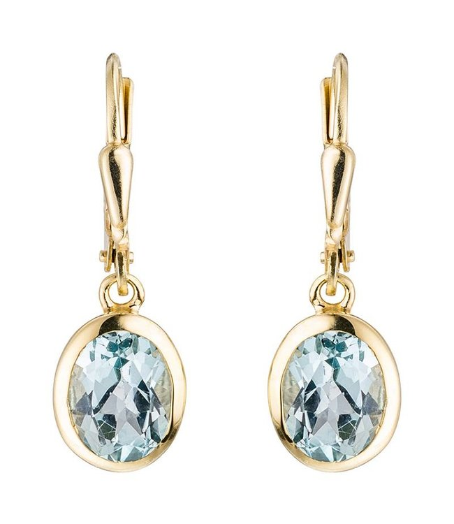 JOBO Gouden oorbellen (333) ovale blauwtopaas