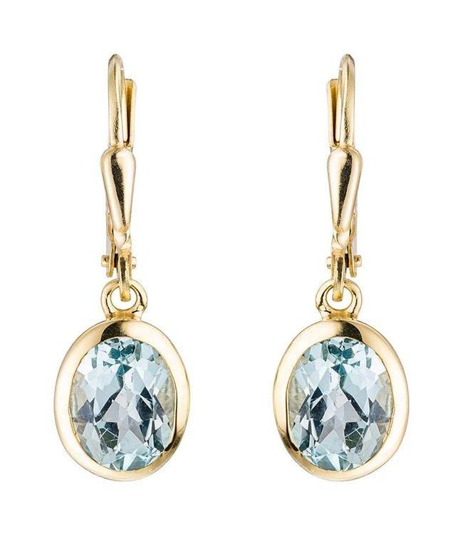 Aurora Patina Gouden oorbellen (333) ovale blauwtopaas