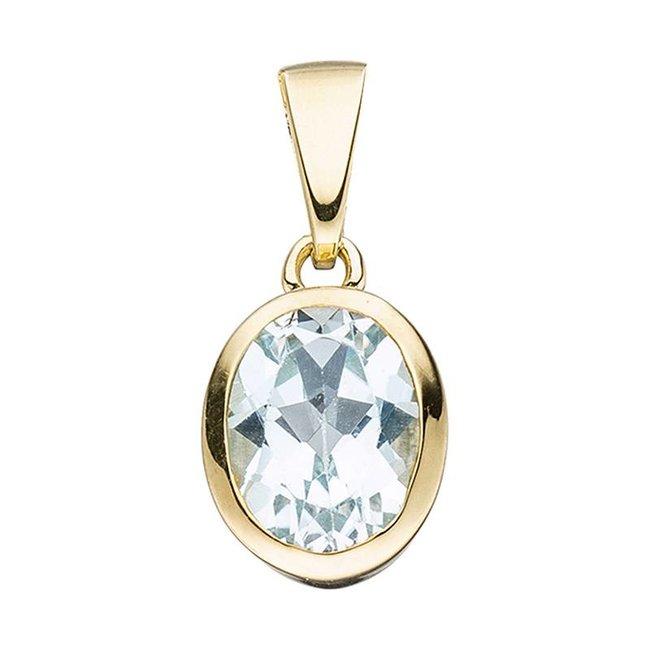 Gold pendant (333) oval blue topaz
