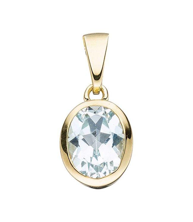 Aurora Patina Gold pendant (333) oval blue topaz
