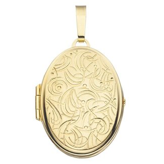 Aurora Patina Gold locket oval with engravings
