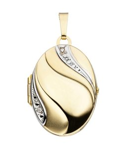 JOBO Gold locket two tone with zirconia