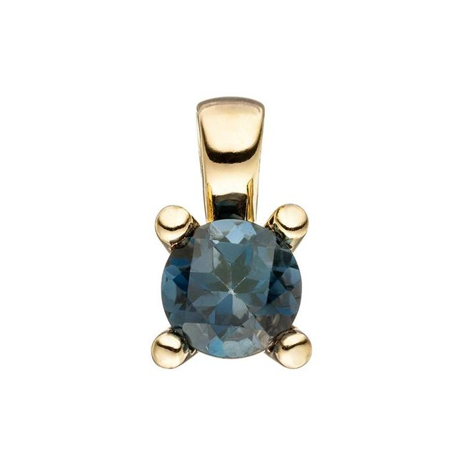 Gold pendant (585) blue topaz London Blue