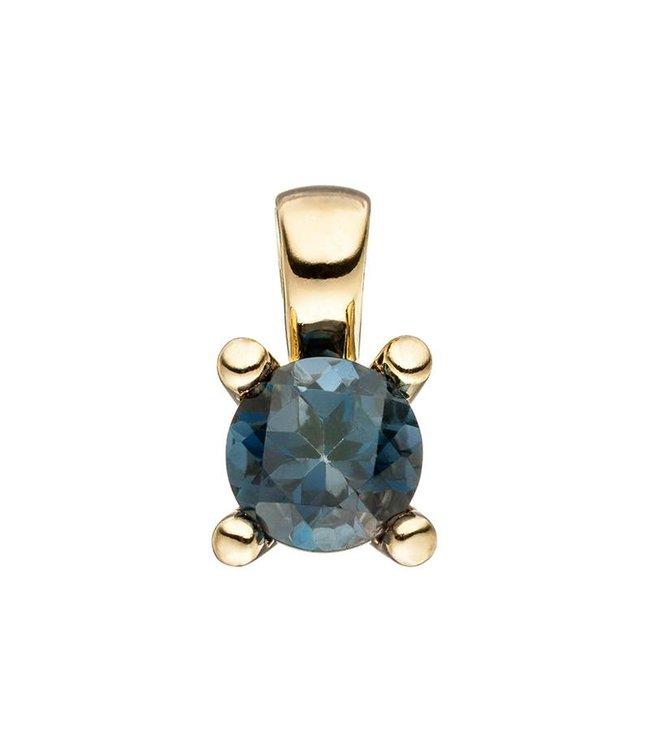 Aurora Patina Gold Anhänger (585) Blautopas London Blue