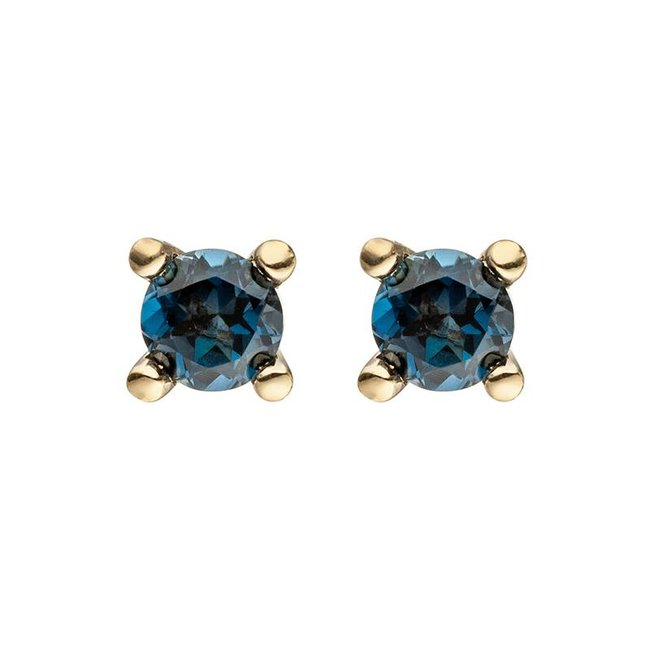 Aurora Patina Gold earstuds blue topaz London Blue